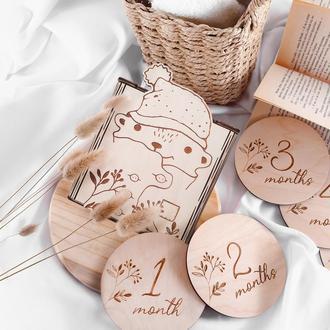 Подарок для беременной. Подарок новорожденному.  Диски для фото сессии малыша до года.