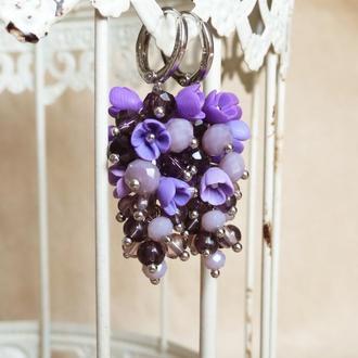 Фиолетовые серьги грозди с цветами, вечерние серьги подарок девушке