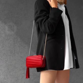Кожаная красная сумка