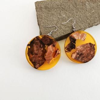 Желтые яркие серьги-подвески необычный подарок