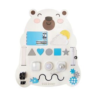 Бизиборд для хлопчика синій Ведмедик з підсвічуванням