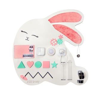 Бизиборд для девочки Зайка розовый с подсветкой
