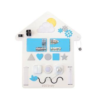 Бизиборд для хлопчика синій Будиночок з підсвічуванням