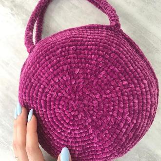 Бархатная круглая сумочка из вельветовой пряжи