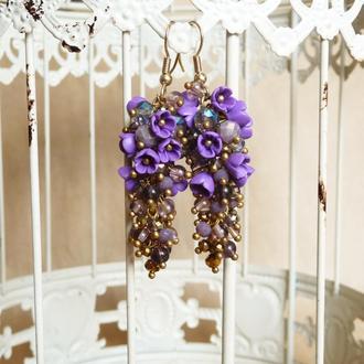 Длинные фиолетовые серьги, вечерние серьги грозди с цветами