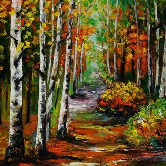 Картина маслом Осенние березы