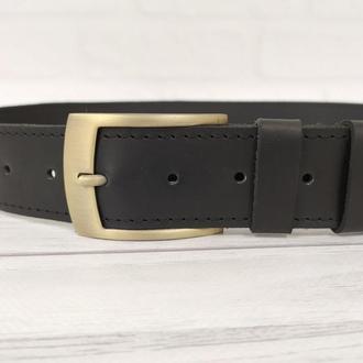 Кожаный ремень мужской классический черный. Широкий кожаный пояс 40 мм с гравировкой на подарок