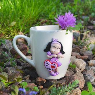 """Чашка декорированная полимерной глиной """"Я подарю тебе сердце"""""""