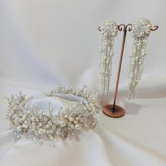 Комплект свадебных украшений, ободок и серьги из хрусталя и жемчуга молочного цвета