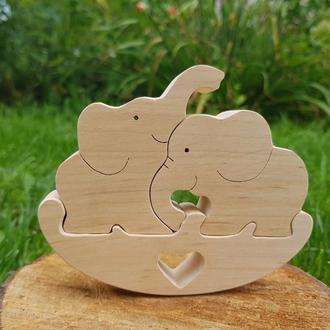 Деревянные слоники пазлы игрушки Семья Слоны Дерев'яні пазли іграшка Слоники Гойдалки