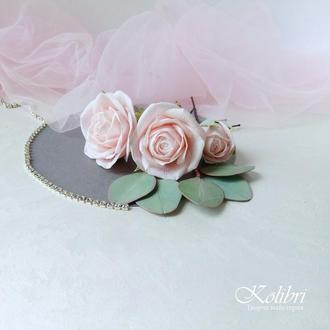 Шпильки для волосся, шпильки в зачіску з трояндами та евкаліптом