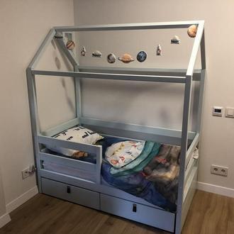ліжечко будиночок з бука з ящиками