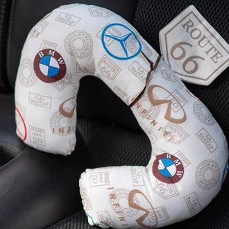 детская дорожная подушка подголовник в авто, автокресло,  автоподушка