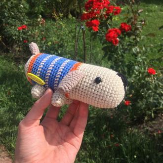 Игрушка собака. Вязаная мягкая собачка. Подарок новорожденному. Эко-игрушка. Игрушка для малыша.
