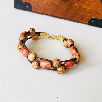 Кожаный браслет с деревянными бусинами, браслет на подарок, деревянный браслет