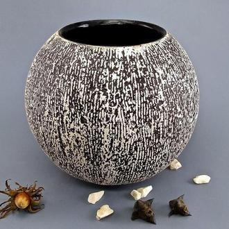 Круглая керамическая ваза, черно-белая керамика ручной работы, высота 16 см, арт.№61
