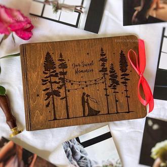 Деревянный фотоальбом - свадебный подарок | фотоальбом из дерева на свадьбу годовщину
