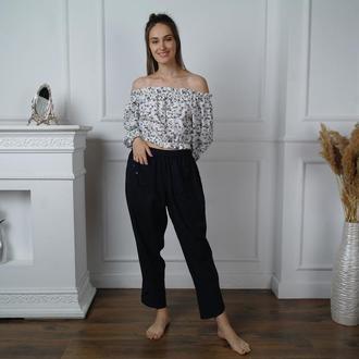 РАСПРОДАЖА коллекции 2020! Пышные брюки из льна в стиле Бохо с декоративными элементами