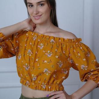 Льняной топ с цветочным принтом Off shoulder linen top