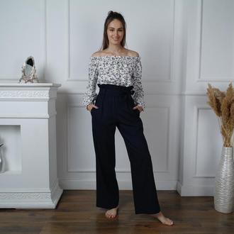 Стильные льняные брюки с завышенной талией Palazzo pants
