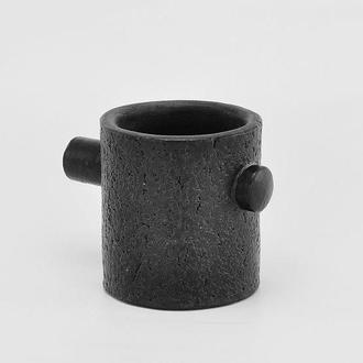 Черная керамическая кружка, высота 80 мм, арт.№65