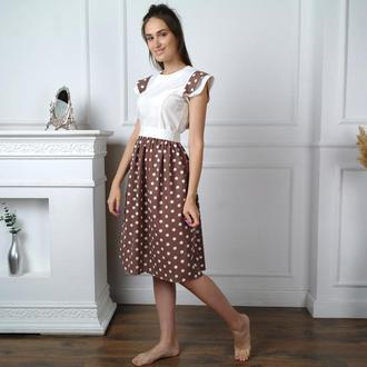 Легкое летнее льняное платье в горошек
