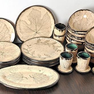 Набор керамической посуды песочного цвета, 6 приборов,, арт.№66