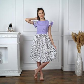 РАСПРОДАЖА коллекции2020! Легкое летнее льняное платье с цветочным принтом