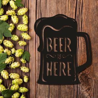 Деревянная настенная абстракция на тему пива