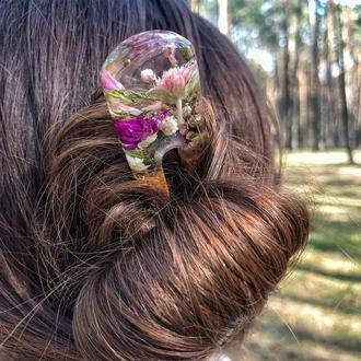 Двойная заколка для волос из дерева и смолы с живыми цветами, Цветы в смоле, с гравировкой, шпилька