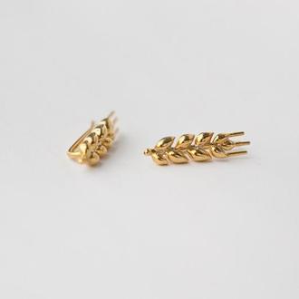 Серьги серебряные в позолоте «Колоски короткие»