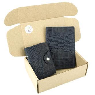 Подарочный набор №28: Обложка на паспорт + визитница (синий крокодил)