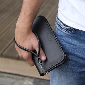 Портмоне клатч с ремешком черный Zipper Teo