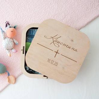 Именная деревянная коробка мамины сокровища, подарок на крестины