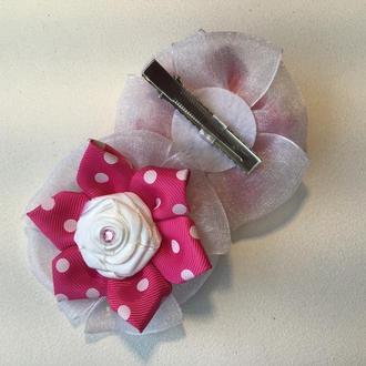 Шпильки для волосся « Бантики з білими трояндами»