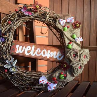 Венок декоративный на входную дверь. ВІНОК ДЕКОРАТИВНИЙ НА ВХІДНІ ДВЕРІ