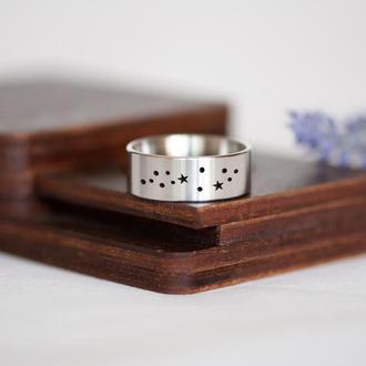 Кольцо с созвездием, ювелирная сталь