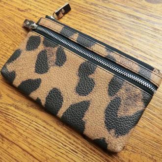 Кожаный кошелек c леопардовым раскрасом