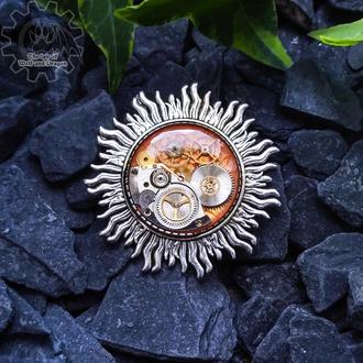 Солнце - брошка-значок в стилях steampunk clockpunk (в наличии 1 шт.)