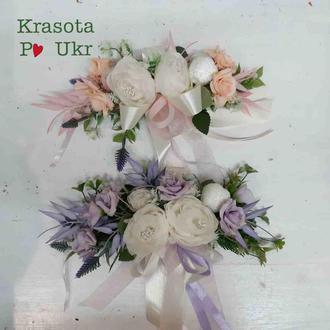Декор на корзинку в лиловом или персиковом цвете
