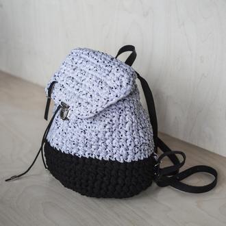 Рюкзак на затяжках черный/серый меланж с сердечками