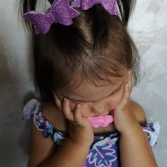 Заколка для волосся бантик фіолетовий