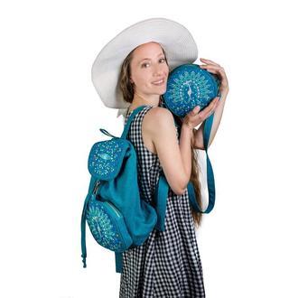 "Рюкзак и сумка бирюзового цвета. Вышивка ""Павлин"""