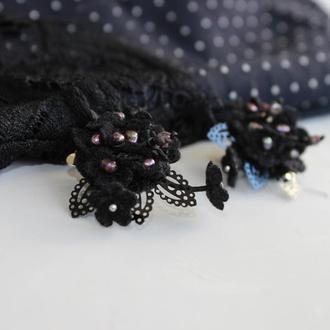 Клипсы серьги черные вечерние вышитые цветы и черный жемчуг