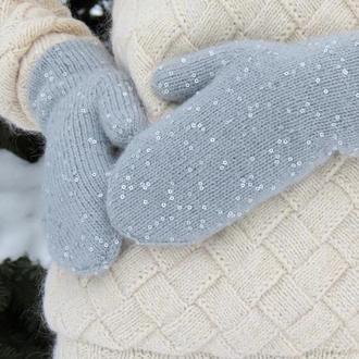 Двойные перчатки с пайетками. Теплые зимние варежки с пайетками