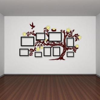 "Фотокомпозиция коллаж в форме дерева ""Семейное дерево"" на 9 фото 156х88 см"