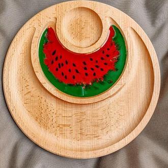 Арбуз стильная деревянная менажница дощечка для подачи фруктов с декором в технике Resin art