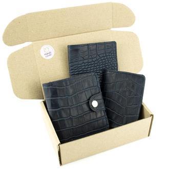 Подарочный набор №39: Кошелек София + обложка на паспорт + обложка на ID паспорт (синий крокодил)