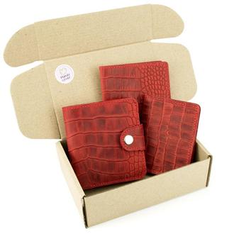 Подарочный набор №39: Кошелек София + обложка на паспорт + обложка на ID паспорт (красный крокодил)