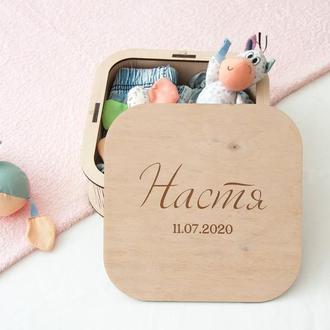 Именная коробка мамины сокровища, подарок на крестины или день рождения